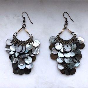Jewelry - NEW Charcoal Gray/Black Shell Chandelier Earrings